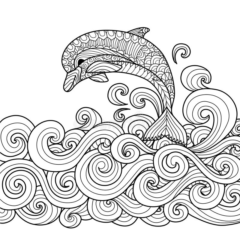 Dolphin zentangle. Hand drawn zentangle dolphin with scrolling sea wave for coloring book for adult