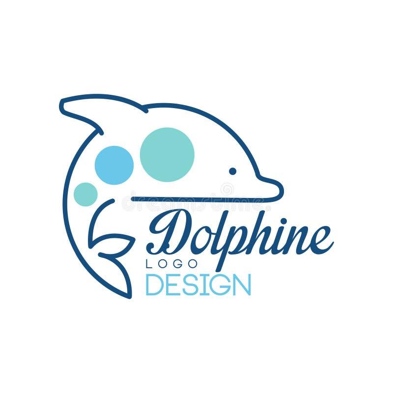 Dolphine loga projekt, abstrakcjonistyczny emblemat z delfin wektorową ilustracją na białym tle royalty ilustracja