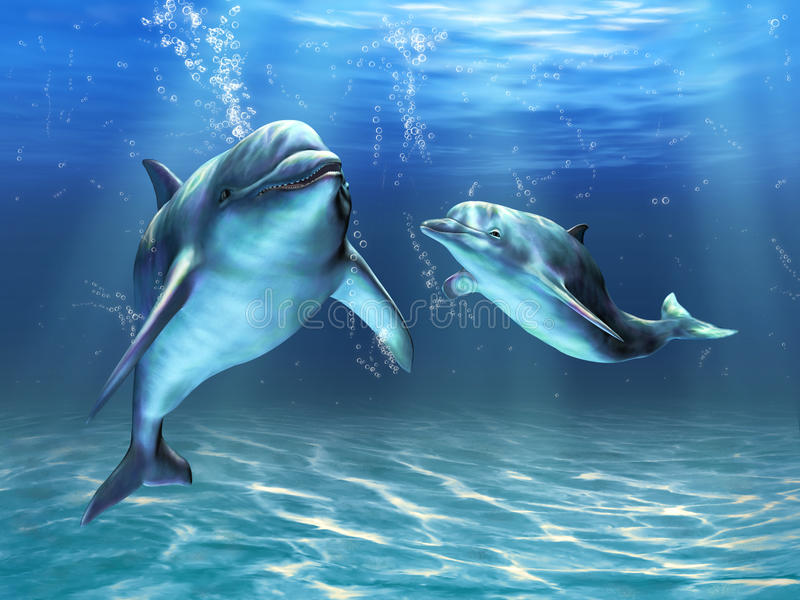 Dolphins. Two dolphins happily swimming in the ocean. Digital illustration