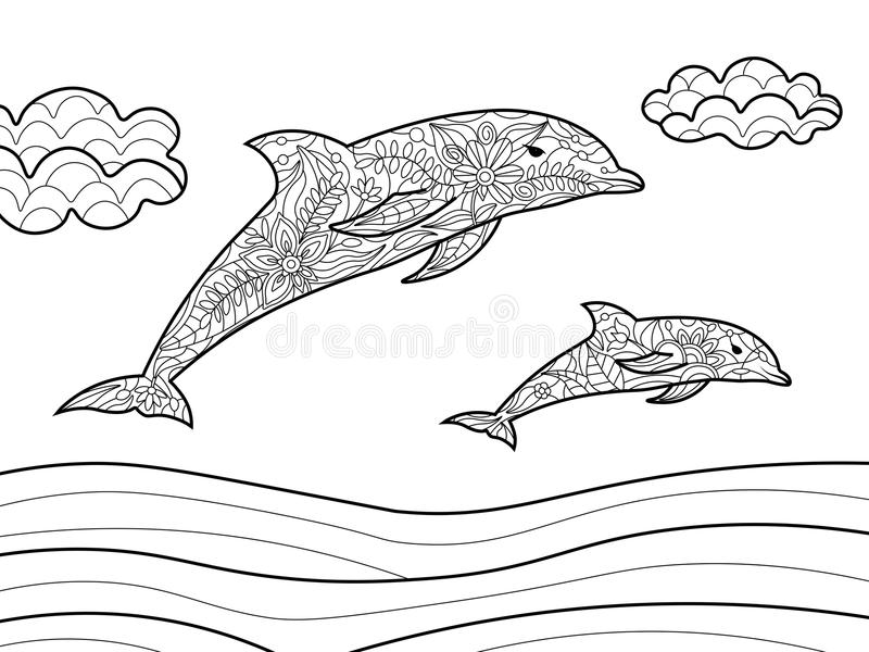 Dolphins Coloring Book For Adults Vector Stock Vector - Illustration ...