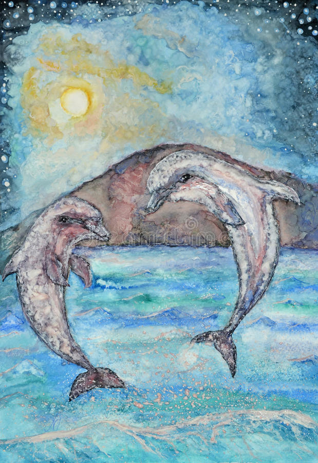 Dolphins jumping painting. Hand painted watercolor image of playful dolphins jumping out of water at night to look at the full moon royalty free illustration