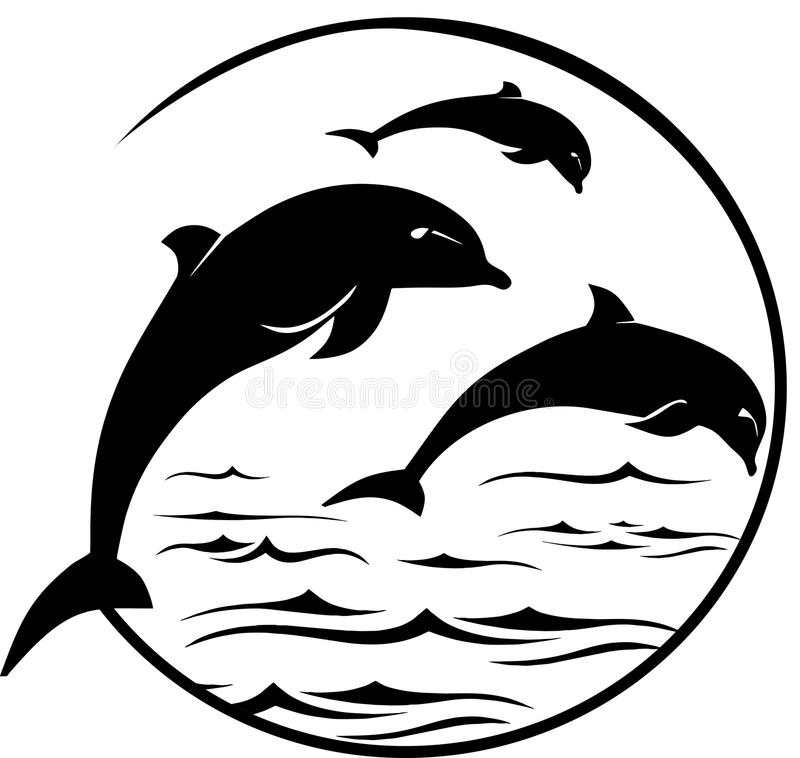 Dolphins Jumping Portrait. DolphinsPortrait in the circular frame vector illustration