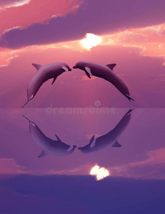 Free Dolphins Playing In The Sunset Stock Photography - 12873162