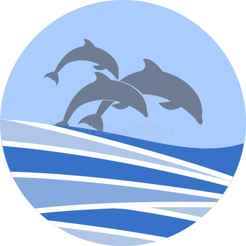 Dolphins swimming vector sign for your design or logo stock photo