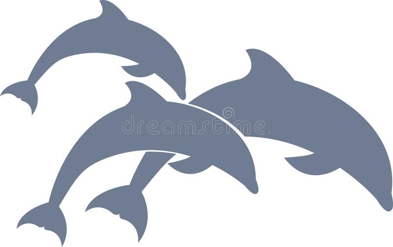 Dolphins swimming vector for your design or logo royalty free stock image