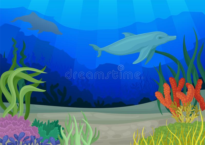 Dolphins and underwater world. Seascapes concept. Vector illustration. stock illustration