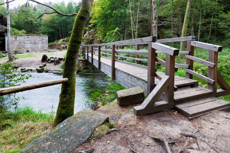 Dolsky watermill na Kamenice rzece, Jetrichovice region, czech Szwajcaria, republika czech zdjęcia stock