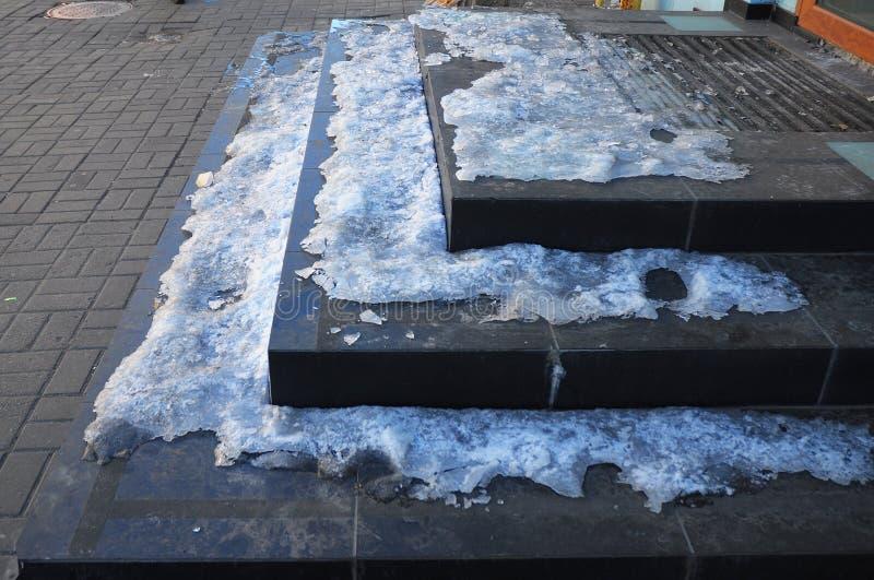 Dolt halt trappafall för is arkivfoton