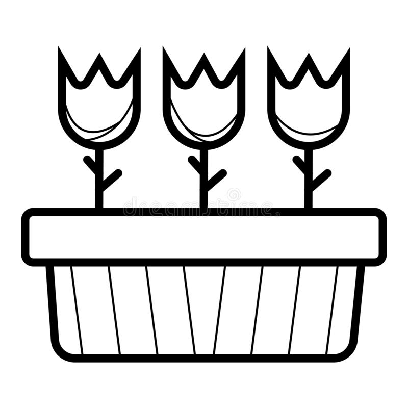 Domów kwiaty w garnkach i rośliny royalty ilustracja