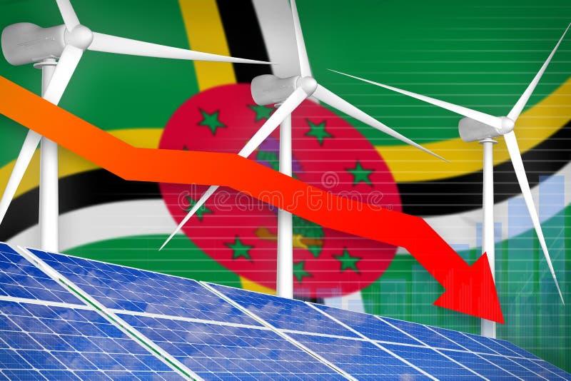 Domínica solar e energias eólicas que abaixam a carta, seta abaixo - da ilustração industrial verde da energia natural ilustração ilustração royalty free