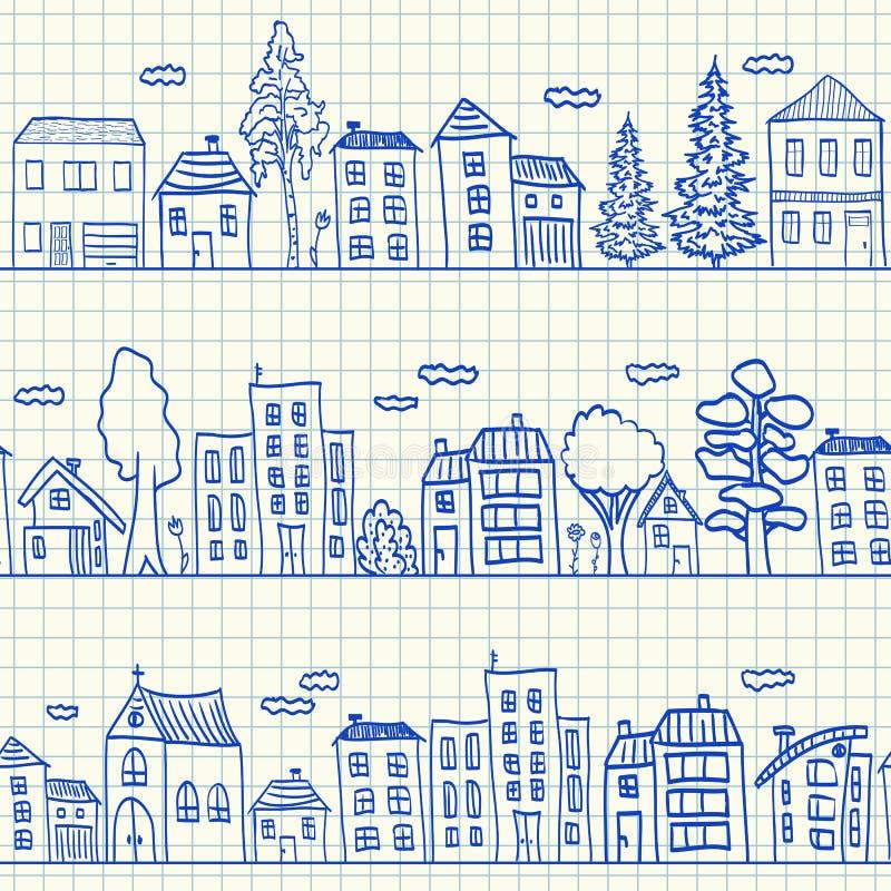 Domów doodles bezszwowy wzór ilustracja wektor