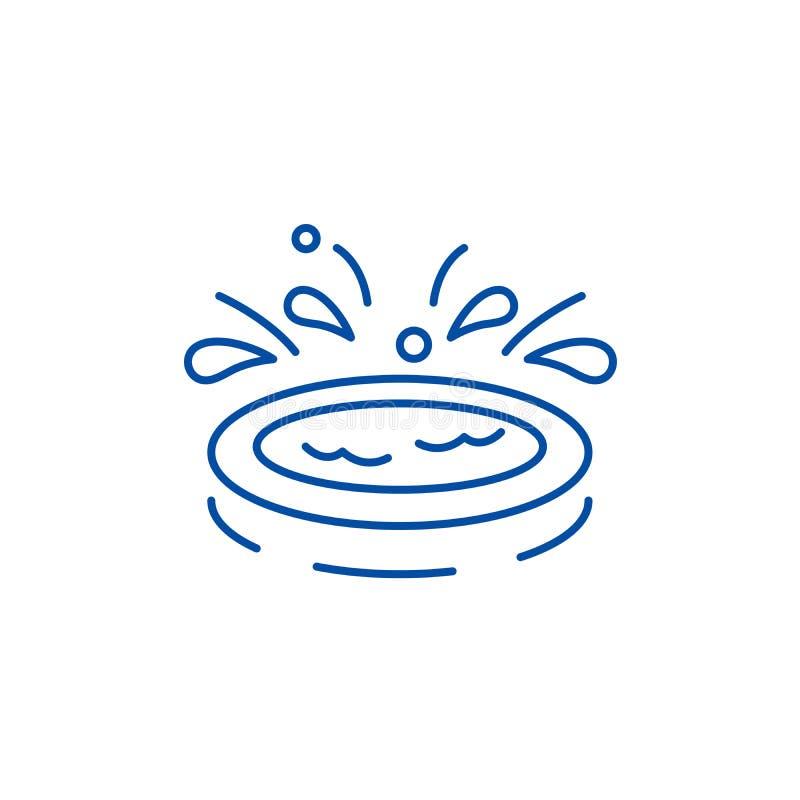 Domów dzieciaków basenu linii ikony pojęcie Domów dzieciaki gromadzą płaskiego wektorowego symbol, podpisują, zarysowywają, ilust ilustracji
