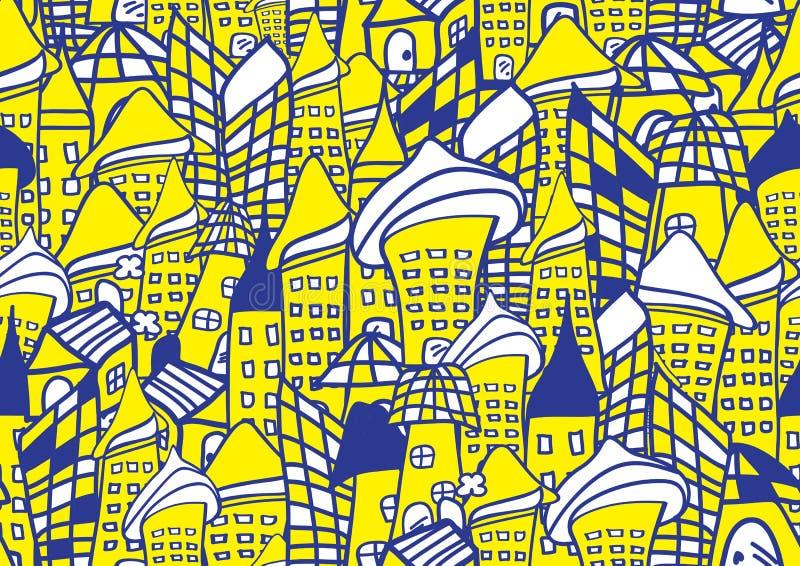Domów i budynków bezszwowa deseniowa wektorowa ilustracja dla dla tkaniny, płótno, pakunek, ściana, dekoracja, meble, drukuje ilustracja wektor