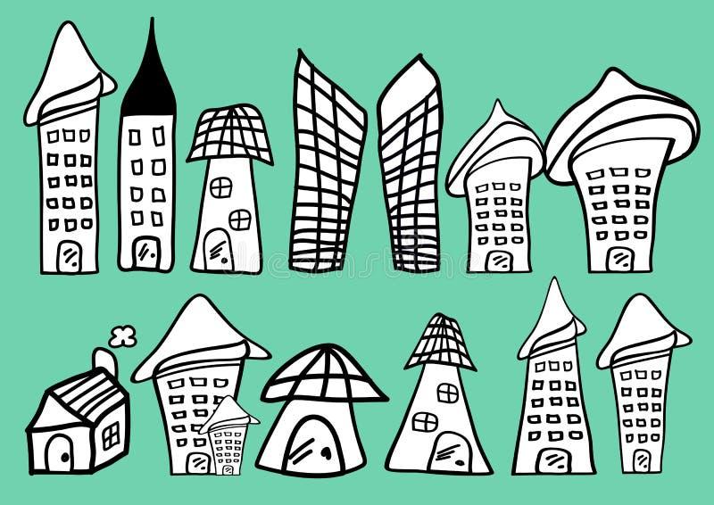 Domów i budynków kreskówki ikony wektorowa ilustracja, dom ręka rysująca w Czarny i biały ilustracji