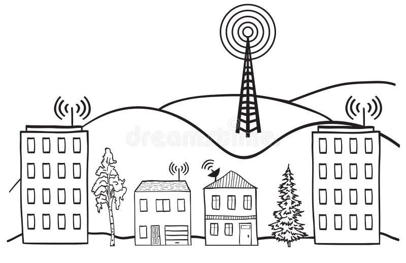 domów internetów sygnału radio ilustracji