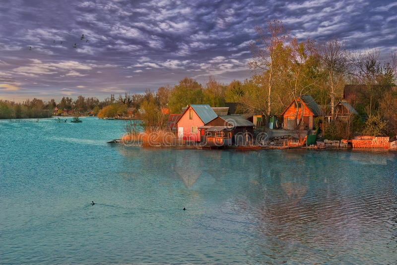 domów jeziora weekend zdjęcia royalty free