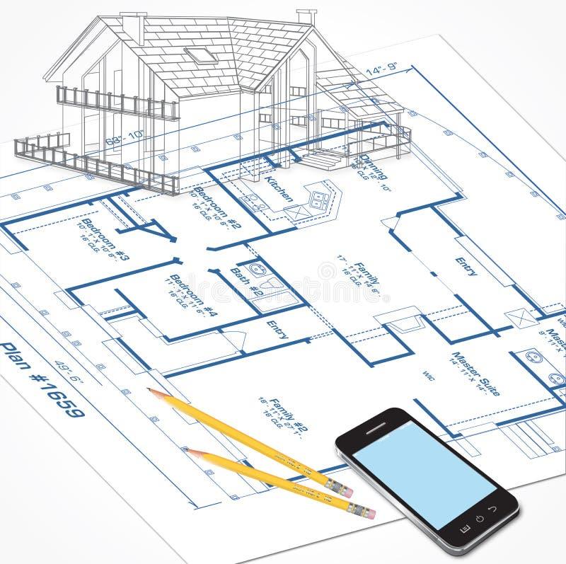 Domów planów nakreślenie ilustracji