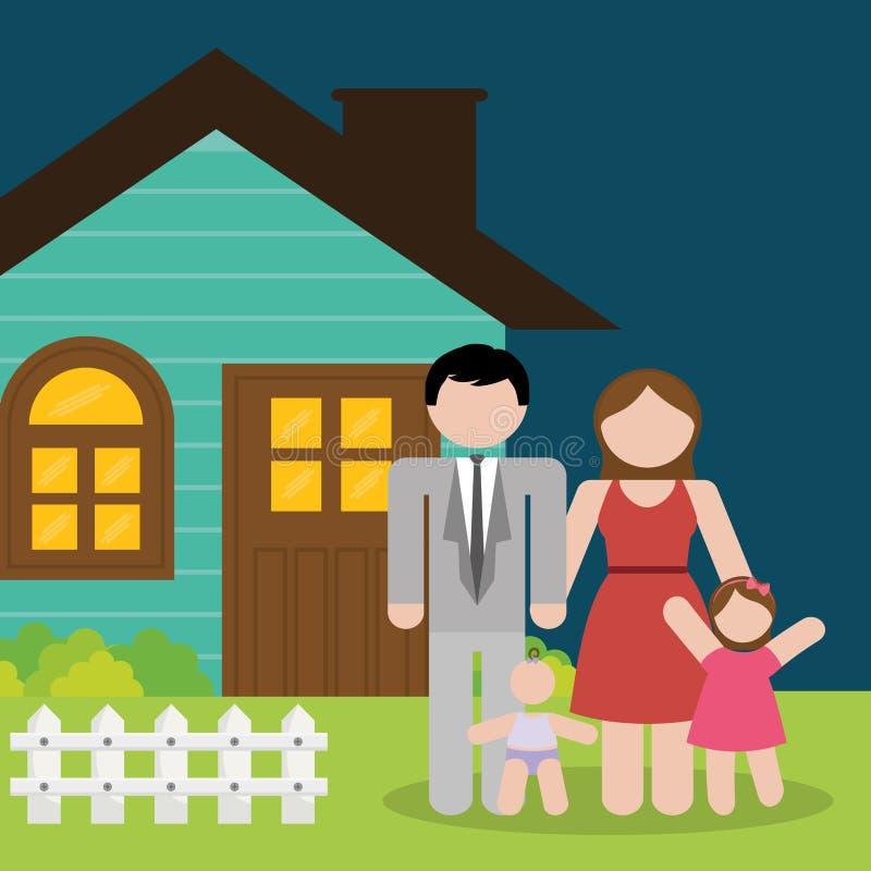 Domów rodzinnych dzieciaki i rodzice royalty ilustracja