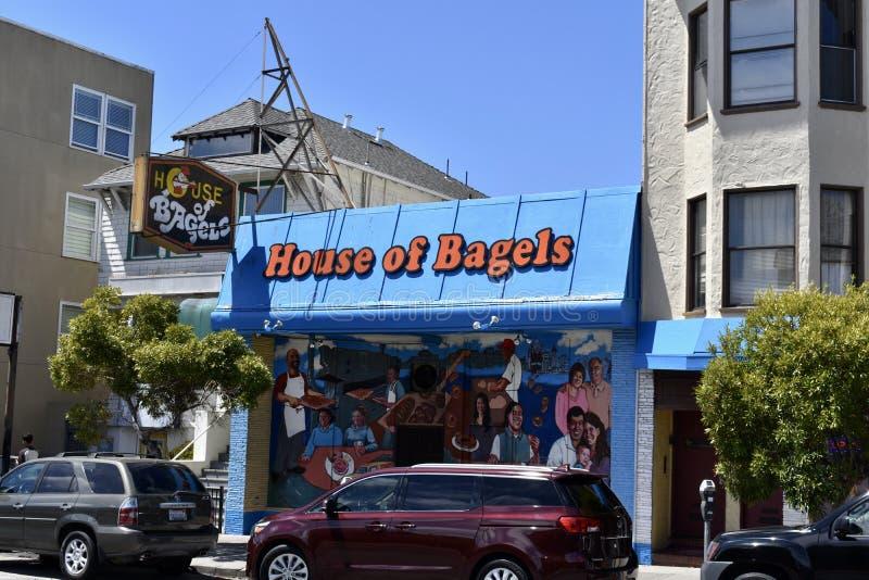 Dom Bagels San Fransisco ` s bagel stara piekarnia, sklep i, 1 obrazy stock