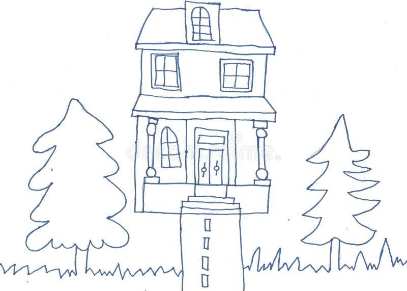 Dom barwić czarny i biały royalty ilustracja