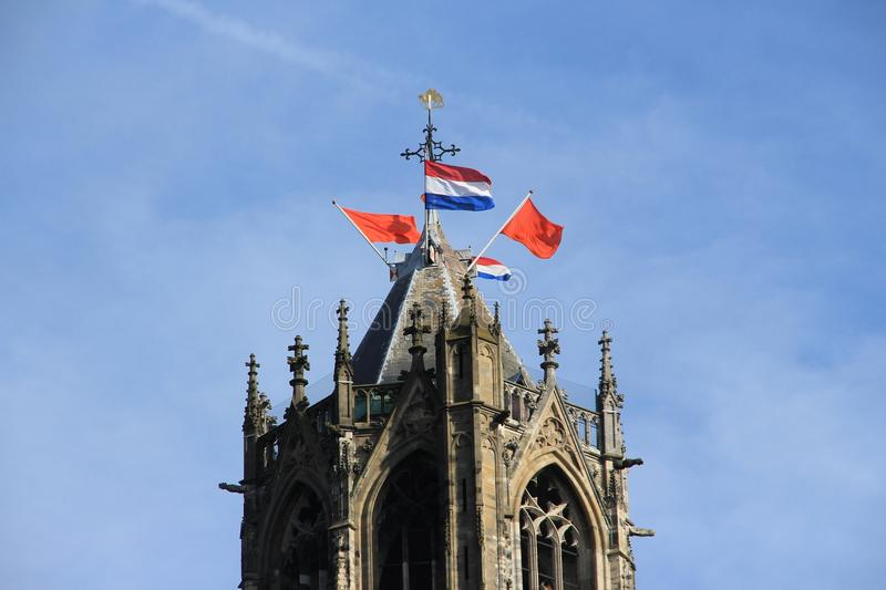 Dom Cathedral in the city Utrecht in spring. stock photography