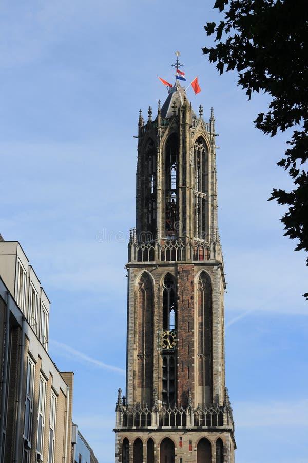 Dom Cathedral in de stad Utrecht in de lente royalty-vrije stock foto