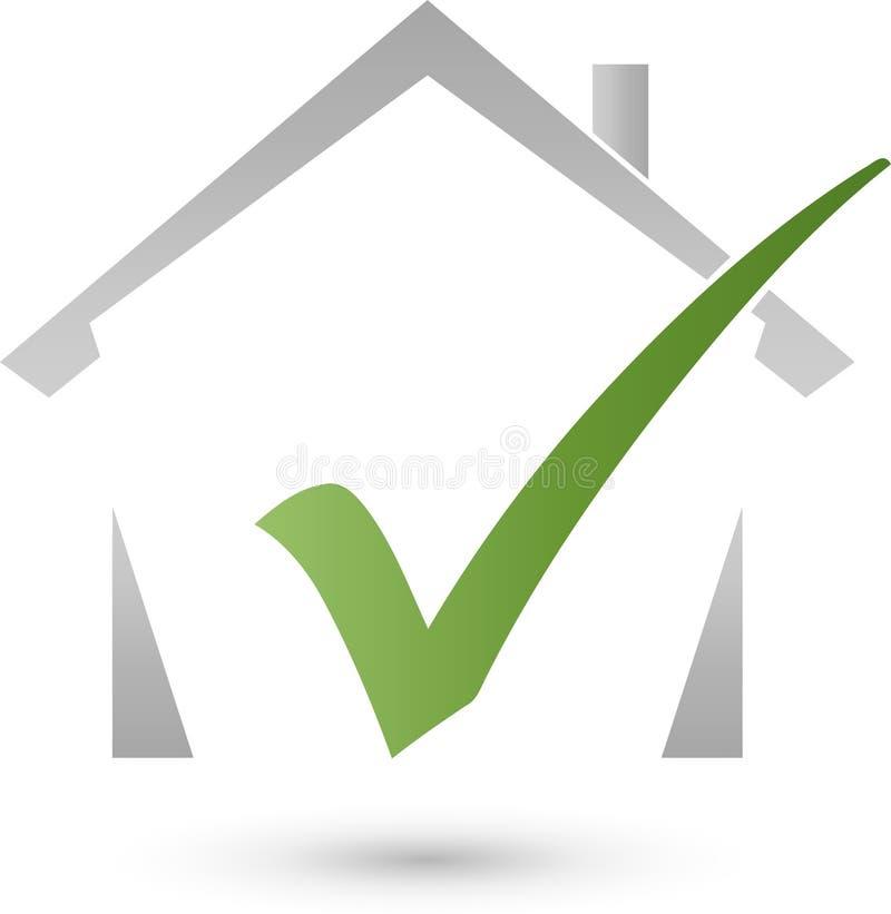 Dom, checkmark, nieruchomość i nieruchomość, sprawdzamy loga royalty ilustracja