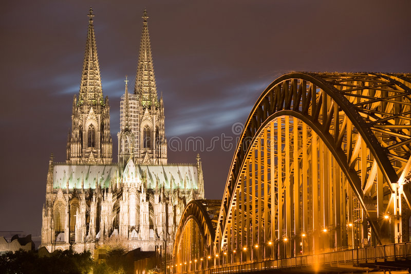 Dom in Cologne at sunset stock photography