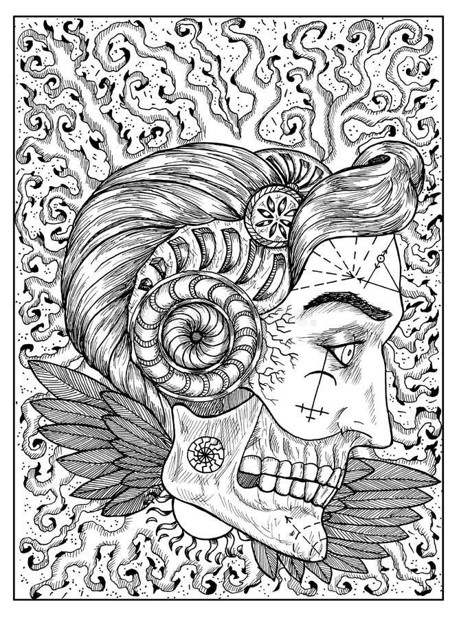 Dom Concepto místico blanco y negro para la carta de tarot del oráculo ilustración del vector