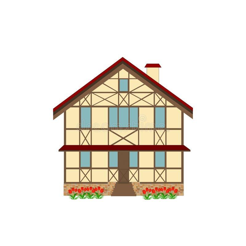 Dom dekorował w stylowej ryglowej strukturze, ilustracja royalty ilustracja
