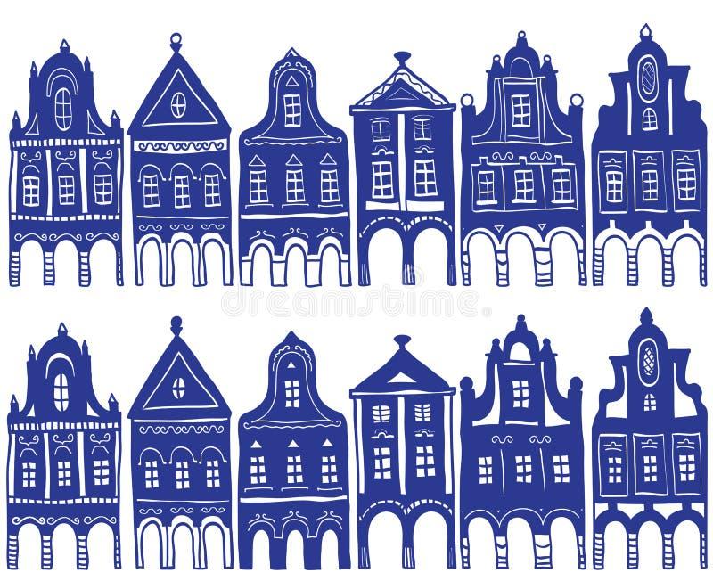 dom dekorująca wioska ilustracyjna stara ilustracja wektor