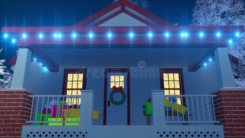 Dom dekorujący dla bożych narodzeń przy nocy zakończeniem up ilustracja wektor