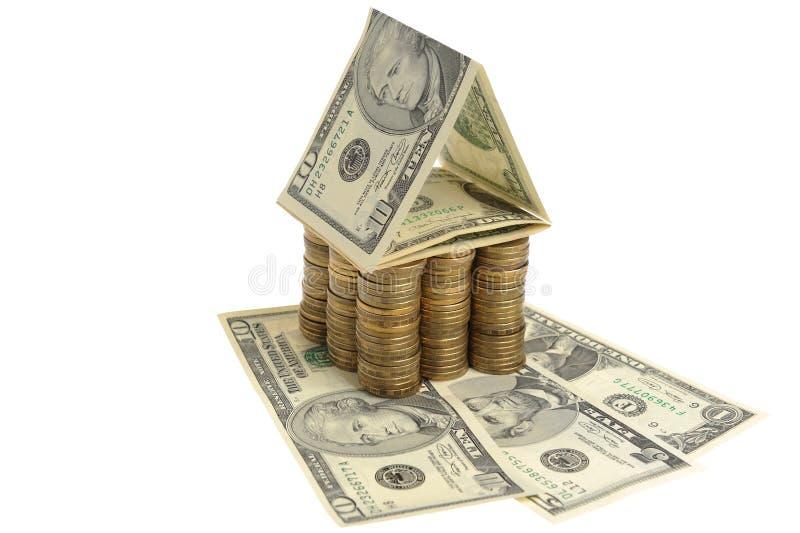 Dom dolary i monety fotografia royalty free