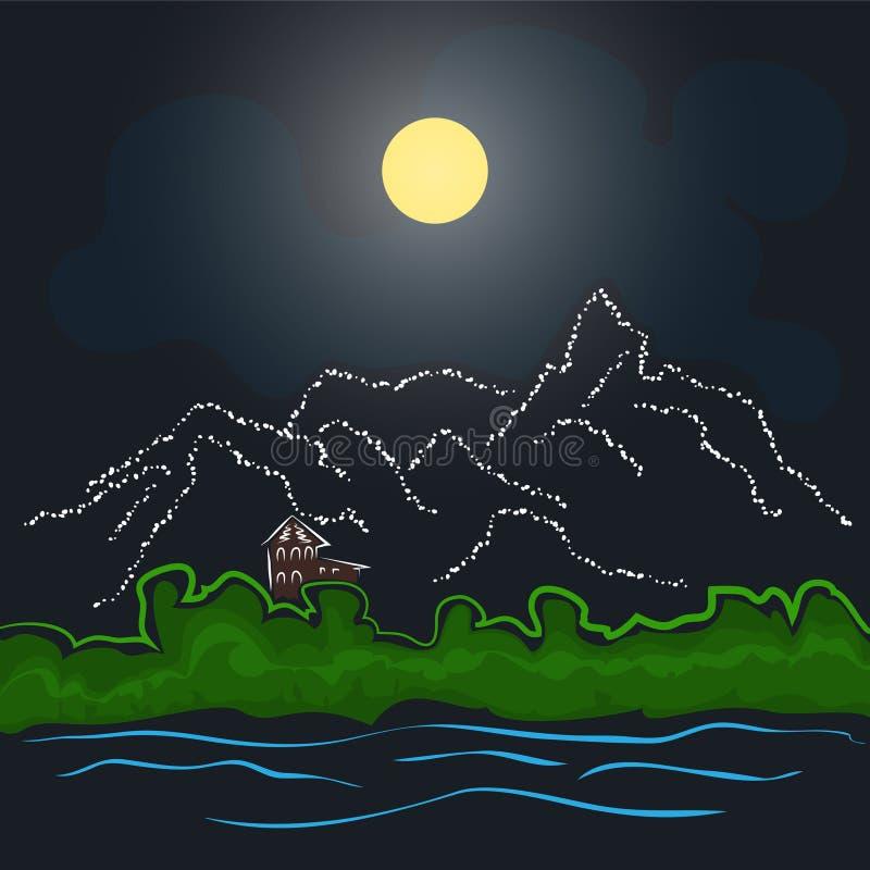 Dom górami i rzeką royalty ilustracja