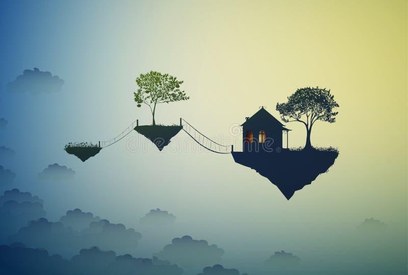 Dom i drzewo na latanie skale, dokąd bóg życia, dom na niebach, ilustracji