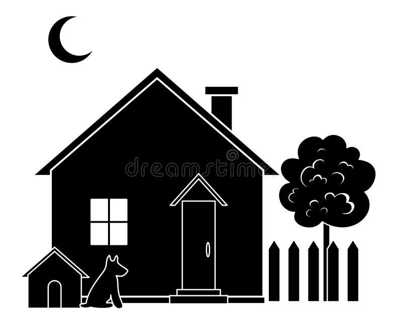 Dom i drzewo, sylwetka royalty ilustracja