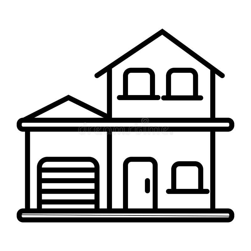 Dom i garaż, wektorowa ikona ilustracji