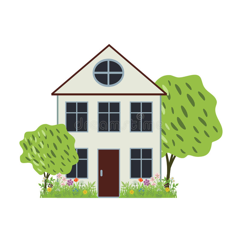 Dom i ogród ilustracja wektor