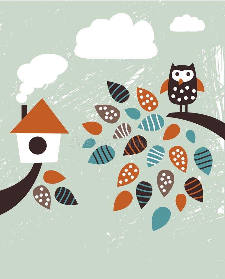 Dom i ptak royalty ilustracja