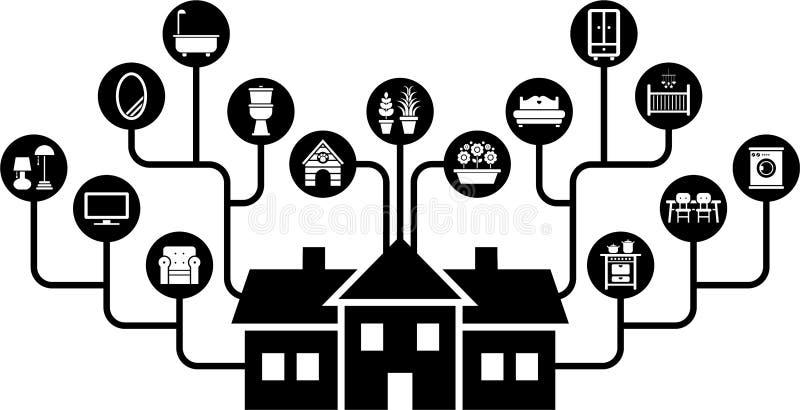 Dom i wszystkie swój meblowania ilustracji