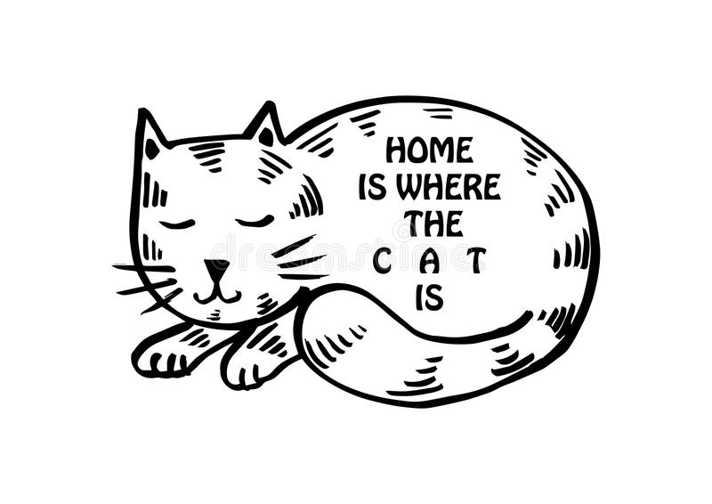Dom jest dokąd kot jest royalty ilustracja
