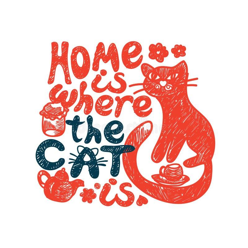 Dom jest dokąd kot royalty ilustracja