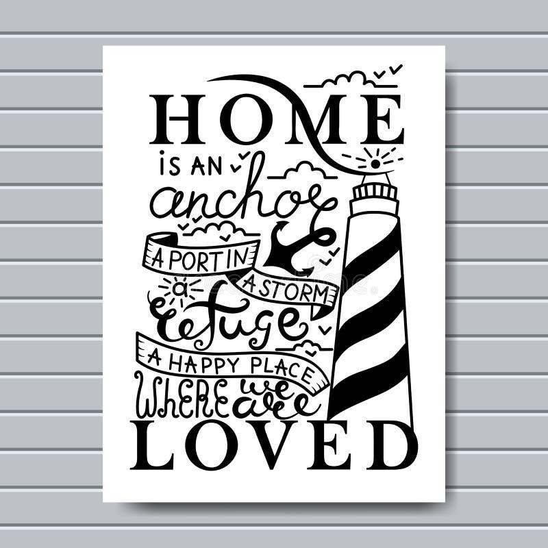 Dom jest dokąd kotwic kropel karta Atrament ilustracja Nowożytna szczotkarska kaligrafia Na białym tle ilustracji