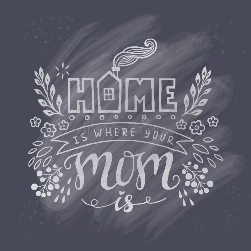 Dom jest dokąd twój mama jest Macierzystego dnia literowania dekoracja ilustracji