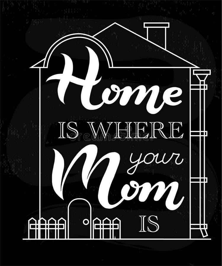 Dom jest dokąd twój mama jest typografii literowania plakatem ilustracja wektor