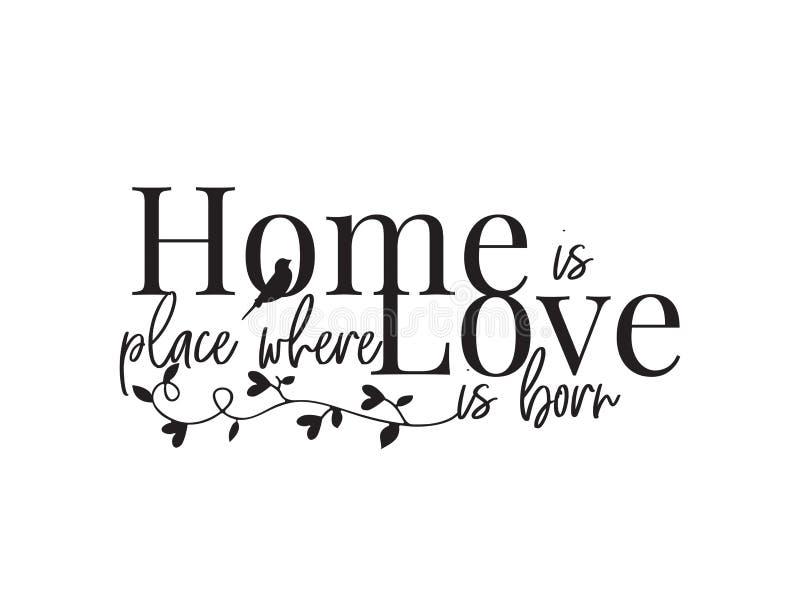 Dom jest miejscem, formułujący projekt, pisze list dokąd miłość jest urodzonym, plakatowym projekta wektorem odizolowywającym na  ilustracja wektor