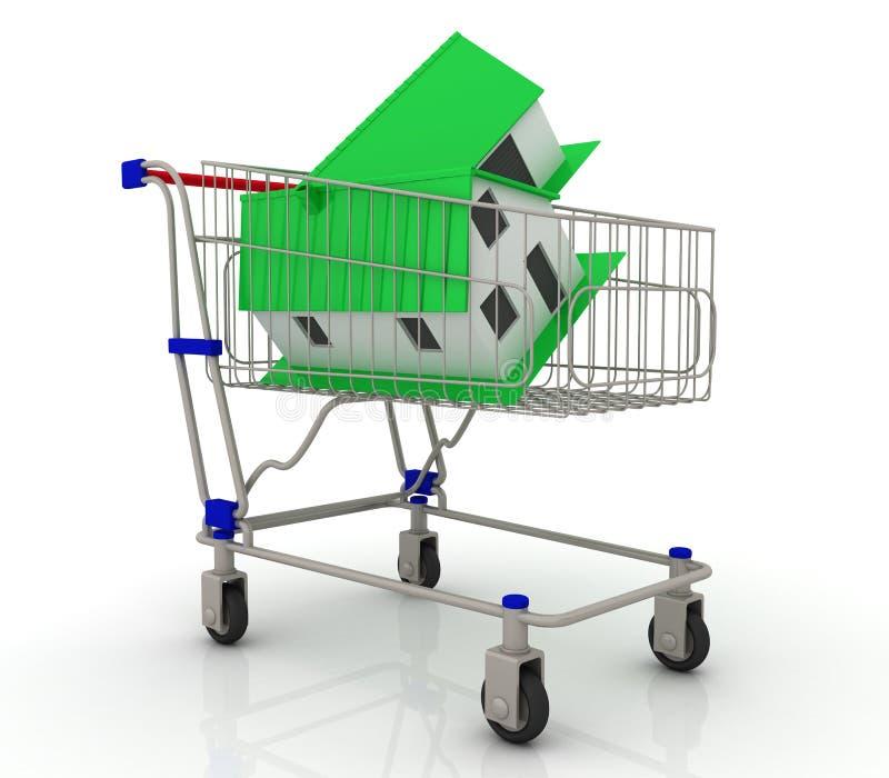 Dom jest w wózek na zakupy - pojęcie własność royalty ilustracja