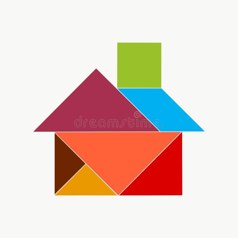 Dom, kłaść out od kawałków łamigłówka tangram ilustracja wektor