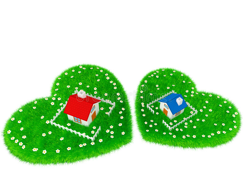Download Dom Lokalizuje Na Obszarze Trawiastym W Formie Serca Ilustracji - Obraz: 33099535