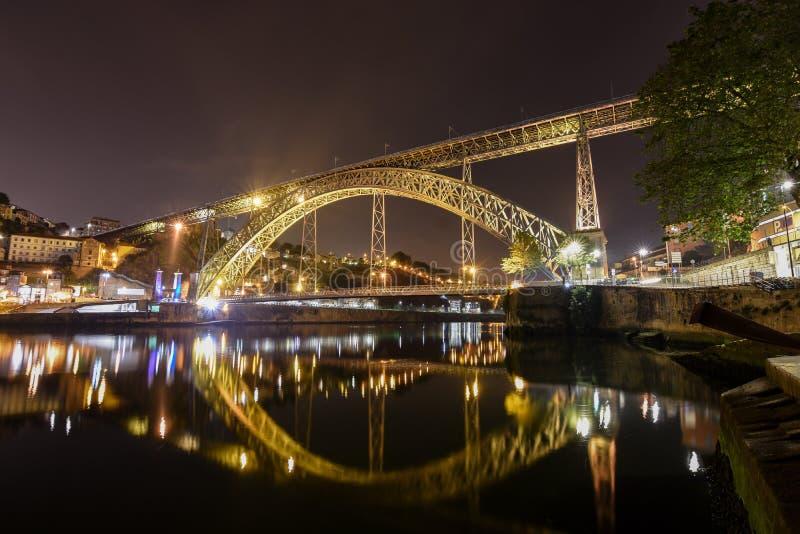 Dom Louis Bridge över den Duoro floden i Porto, Portugal cityscape arkivfoton